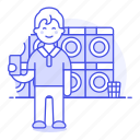 2, basket, cleaning, clothes, dryer, laundromat, laundry, machine, man, services, washer, washing icon