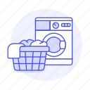 basket, cleaning, clothes, dirty, laundry, machine, services, washer, washing icon