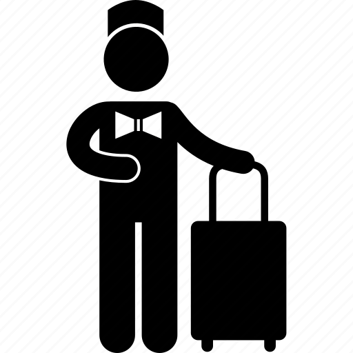attendant, bellboy, carry, hotel, luggage, man, work icon