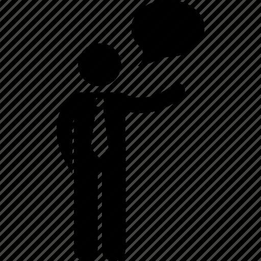 businessman, man, presentation, showing, speaking, speech, talking icon