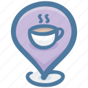 cafe, coffee shop, location, pin, restaurant, shop, store