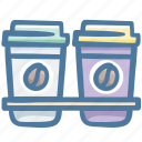coffee, cups, drink, hot, shop icon