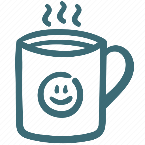 coffee, cup, drink, happy, hot, smile, tea icon