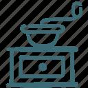 beans, coffee, grind, grinder, mesh, prepare icon