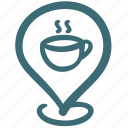 cafe, coffee shop, location, pin, restaurant, shop, store icon