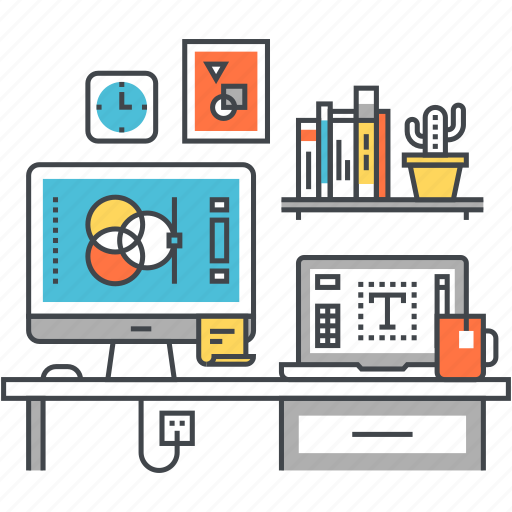 computer, design, development, freelance, graphic, office, studio icon