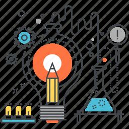 art, bulb, idea, imagination, light, pencil, research icon