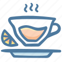 ceremony, drink, fruit, lemon tea, orange, tea icon