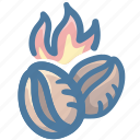 bean, burning, caffeine, coffee, fire icon
