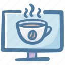 cafe, coffee, computer, drink, working, working space icon