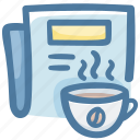 coffee, drink, news, newspaper, time icon