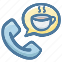 call, coffee, delivery, phone, service icon