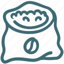 bag, coffee, coffee bean, hand drawn, roasted coffee icon