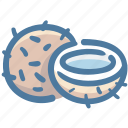 coco, coconut, coconut half, food, fruit icon