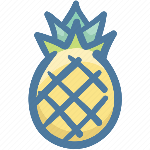 Food, fruit, pineapple, pineapple fruit, slice of pineapple, tropical icon - Download on Iconfinder