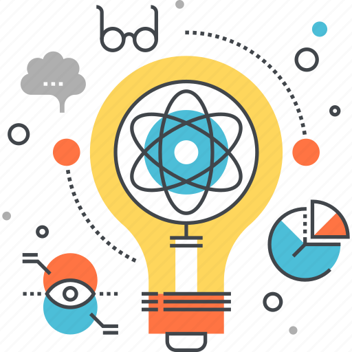 bulb, idea, imagination, innovation, light, physics, research icon