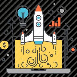computer, laptop, launch, rocket, spaceship, start, startup icon