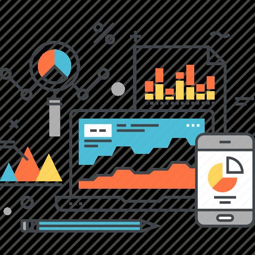 analysis, analytics, chart, computer, document, graph, statistics icon