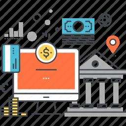bank, banking, digital, finance, internet, money, online icon