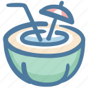 coconut, coconut drink, coconut water, food, fruit drink, holidays icon