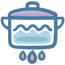 boiling pot, food, hot, kitchen, pot, temperature icon