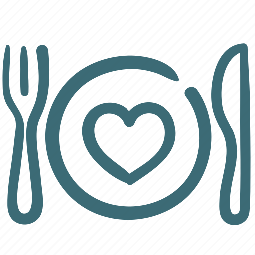 Dish, favorite food, food, heart, silverware icon - Download on Iconfinder