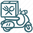 bike, courier, delivery, food, restaurant, service