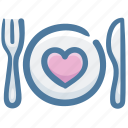 dish, favorite food, food, heart, silverware icon