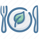 cleanfood, dish, food, green food, silverware, vegetable icon