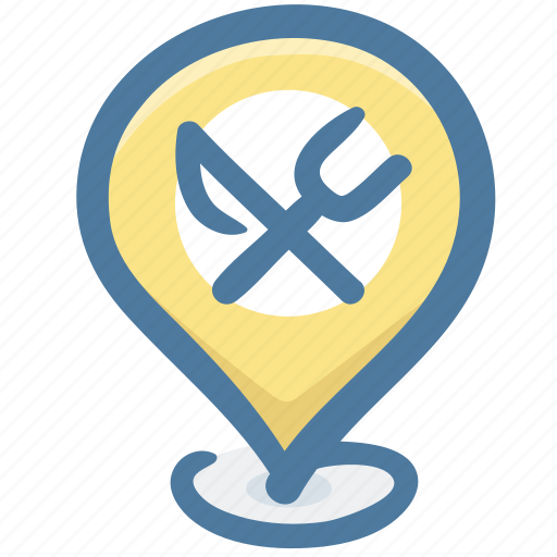 food, location, map, map pin, marker, navigation, restaurant icon