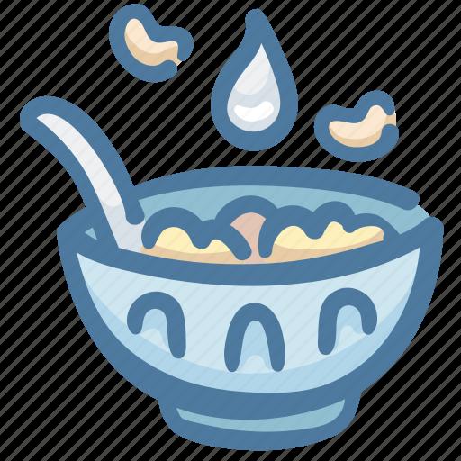 bowl, breakfast, cereal, food, milk icon
