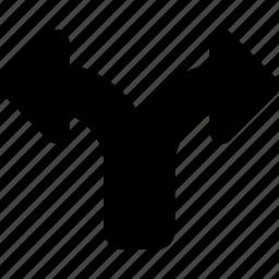 arrow, direction, divide, navigation icon
