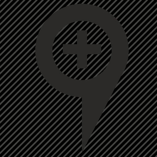 geo, map, plus, point icon