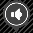 geo, listen, map, music, pointer, sound icon