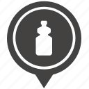 bottle, drink, geo, pointer, water icon