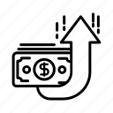 arrow, bank, business, finance, money, up icon