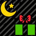 gift, ramadan, star, moon, present, celebration