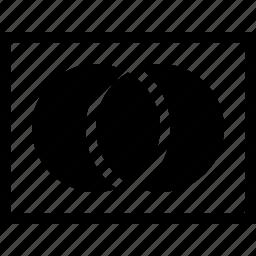 set theory, sets, union of two sets, venn diagram icon