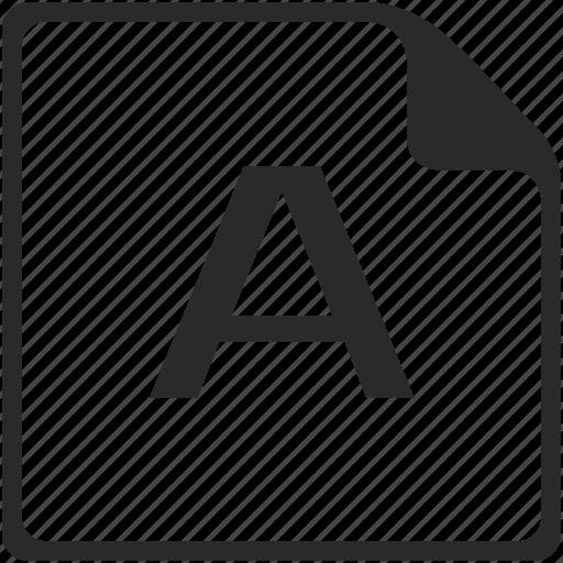 a, doc, file, key, latin, letter icon