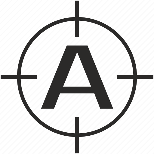 a, key, latin, letter, target icon