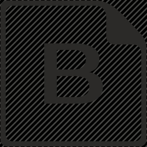 b, doc, file, key, latin, letter icon