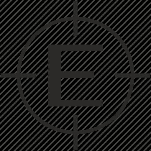 e, key, latin, letter, target icon