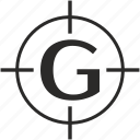 g, key, latin, letter, target icon