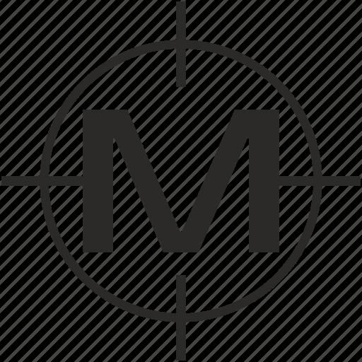 key, latin, letter, m, target icon