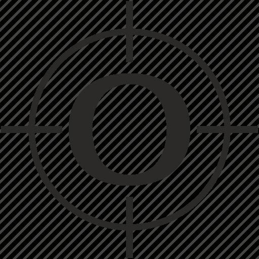key, latin, letter, o, target icon