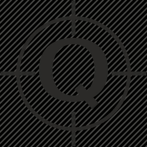 key, latin, letter, q, target icon