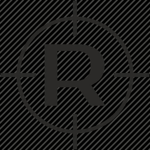key, latin, letter, r, target icon