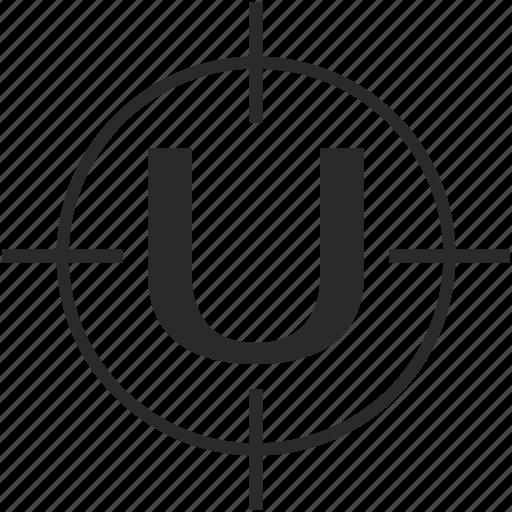 key, latin, letter, target, u icon
