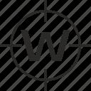 key, latin, letter, target, w icon