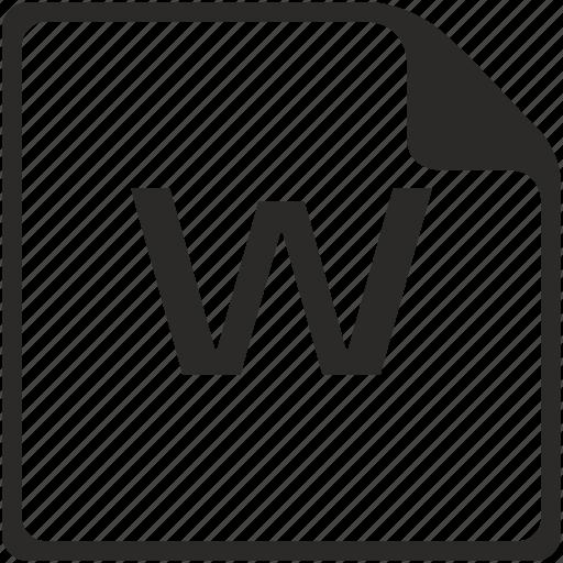 doc, file, key, latin, letter, w icon